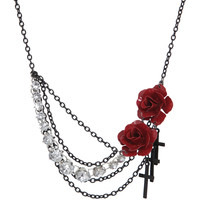 LOVEsick Rose Cross Bling Statement Necklace
