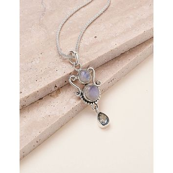 Double Moonstone and Blue Topaz Necklace