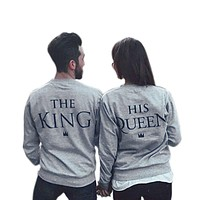 2018 Autumn\Winter Fashion Couples Sweatshirts Print KING QUEEN Long Sleeve Hoodies Lovers Sweatshirt Men and Women Pullovers L2