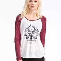 Volcom Reality Blocked Womens Baseball Tee Merlot  In Sizes