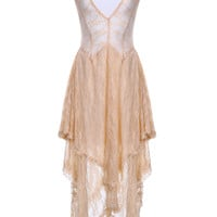 Lace Sheer High & Low Midi Dress in Cream