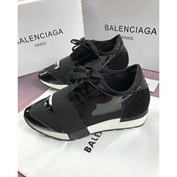 BALENCIAGA Popular Women Men Personality Metal Color Casual Shoes Black(White Sole) I-OMDP-GD