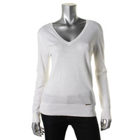 MICHAEL Michael Kors Womens Knit Double-V Pullover Sweater