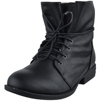 Womens Ankle Boots Fur Lining Simple Lace Up Shoes Black SZ