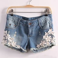Blue Pyramid Stud and Floral Lace Embroidered Washed Denim Shorts