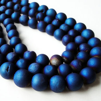 """Druzy Beads, Blue Titanium Pixie Dust Round Beads, Agate Druze With Coating Matte Ball, 12mm  7.5"""" Strand"""