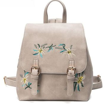 Leather Floral Backpack