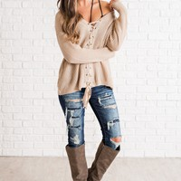 Newcastle Lace Up Sweater (Taupe)