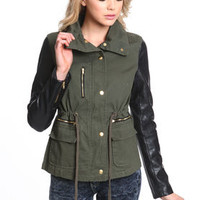 Leather Sleeve Army Cargo Jacket - LoveCulture