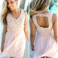 Sydney Summer Rose Sequin Embellished Pink Net Dress