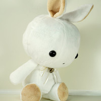 Cute Bellzi Stuffed Animal White w/ Brown Contrast Rabbit Plushie Doll - Bunni