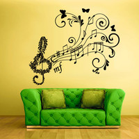 Wall Decal Vinyl Sticker Decals Note Notes Wave Music Flowers Curly Nice (z1541)
