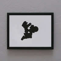 Super Mario Brothers   Mario and Yoshi Hand cut black silhouette papercut