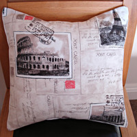 Throw Pillow France Italy Paris Eiffel tower Rome postcards red grey gray black 16 x 16  inch cushion cover