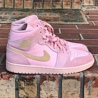 Air jordan 1 hot sale couple coral pink high-top sneakers Shoes