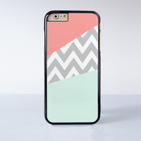 Mint And Coral Chevron Blue Custom Plastic Case Cover for Apple iPhone 6 6 Plus 4 4s 5 5s 5c