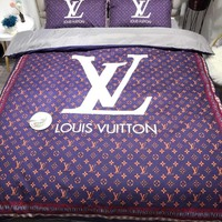 LOUIS VUITTON LV Printed Blanket Quilt coverlet Pillow shams 3 PC Bedding SET