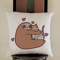 Sloth Love Cat Pillow, Pillow Case, Pillow Cover, 16 x 16 Inch One Side, 16 x 16 Inch Two Side, 18 x 18 Inch One Side, 18 x 18 Inch Two Side, 20 x 20 Inch One Side, 20 x 20 Inch Two Side