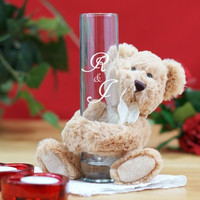 Engraved Bud Vase with I Love You Teddy Bear
