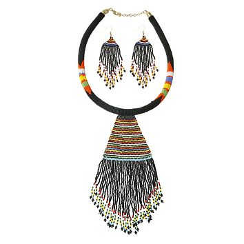 Black Bead Tassel Necklace Set