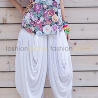 Ultra Comfortable Multi Pleated Gypsy Pants - White