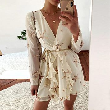 Beige V Neck Starfish Sequined Chiffon Dresses Long Sleeve See Through Sexy Party A Line Mini Sundress