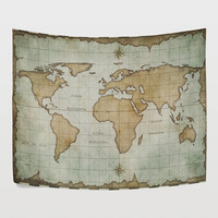 Vintage Retro Earth World Map Tapestry Old Yellow Sea Map Abstract Wall Hanging Art for Dorm Room Home Decor