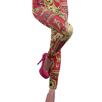 Red Totem Print Leggings
