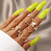 5pcs/set Pretty Butterfly Big Heart Joint Ring Sets for Women Shiny Crystal Stone Cross Geometry Party Jewelry