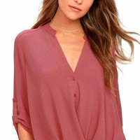 Rusty Rose V Neck Knotted Button-up Sleeve Blouse