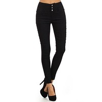 High Rise Button Trim Skinny Slim Fit Jeggings Denim Pant Trouser