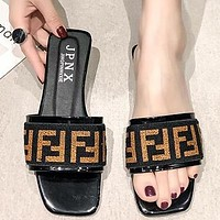 FENDI Hot Sale Women Fashion F Letter Flat Sandal Slipper Beach Shoes