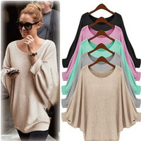 Fashion Hot Popular Women Cardigan Knit Loose Round Necked Outerwear Jacket Top _ 12225