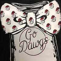 Georgia Bulldogs Mason Jar Big Bow Girlie Bright Long Sleeves T Shirt