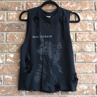 Kurt Cobain // concert shirt // band shirt // cut // raw edge// unisex