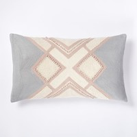 Crewel Crisscross Linework Pillow Cover - Rosette