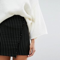 Pull&Bear Stripe Fray Wrap Mini Skirt at asos.com