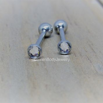 "Cheek piercing barbell 14g 4.4mm CZ clear gem internally threaded titanium 5/8"" 3/4"" straight bar"