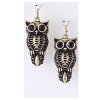 Adorable Black Crystal Accented Owl Dangle Earrings