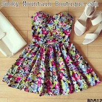 Sam Floral Bustier Dress with Adjustable Straps - Size XS/S/M BD 512 - Smoky Mountain Boutique