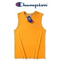 Champion Summer New Fashion Embroidery Letter Women Men Leisure Vest Top T-Shirt Yellow