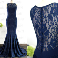 Dark Navy Jersey Evening Dresses, Lace Jersey Mermaid Evening Gown, Navy Mermaid Formal Dresses, Mermaid Jersey Long Prom Gown