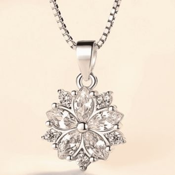 Azalea Blossoms Cubic Zirconia 14K White Gold Plated Necklace for Women