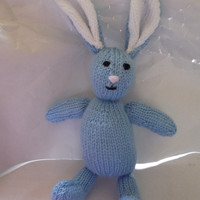 Blue bunny - knitted toy - knit rabbit - baby shower/Easter/Valentine/gift