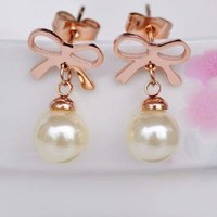 Bowtie and Pearl Earrings for Women