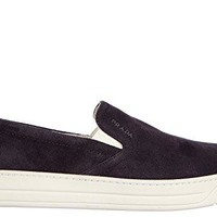 Prada women's suede slip on sneakers blu