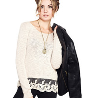 Comfy Lace Trim Sweater | Wet Seal