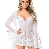 Sexy Hint-of-Pink Robe and Baby Doll