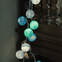 3 meter 20 cotton ball light lantern sky blue ocean surf color beach home decoration teen bedroom night light party decor