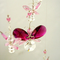 Pink Butterfly Mobile Swarovski Crystal Suncatcher Hanging Mobile Butterfly Ornament Baby Girl Mobile Angel Pink Fairy Mobile Nursery Idea